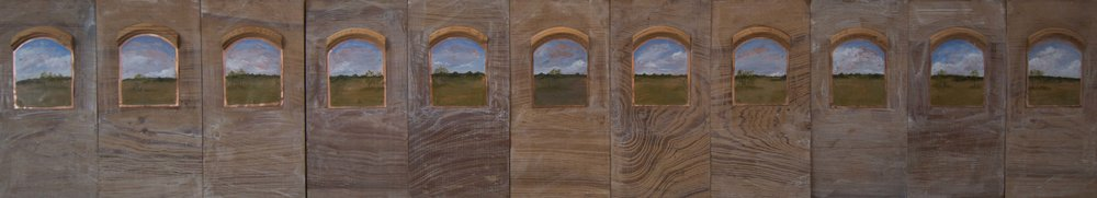 "Across & Beyond 1997  Oil on copper, wood  10"" x 55"""