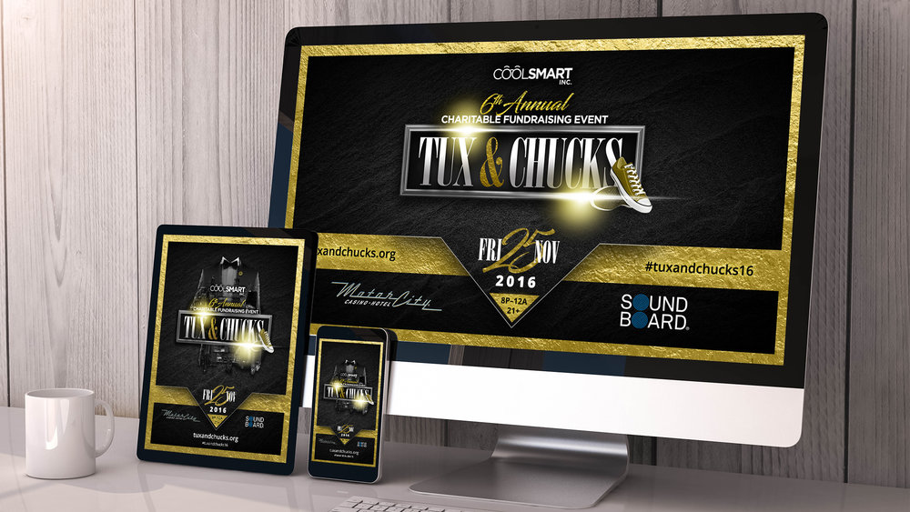 COOL SMART INC / TUX & CHUCKS  - Website Design + Event Branding
