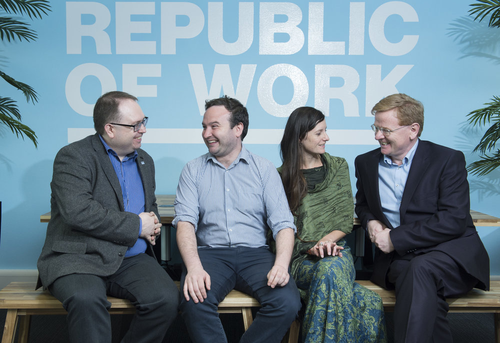 BANK OF IRELAND -  Bank of Ireland is a founding partner at Republic of Work; taking practical steps to help businesses meet, connect and grow.Bank Of Ireland have 4 scholarship desks within Republic Of Work home to startups, researchers, NGOS and multinationals looking to set up operations in Cork. Dave Tighe, Head of Innovation, Bank of Ireland