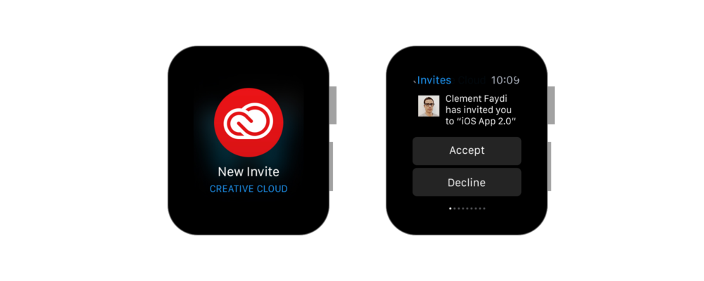 Invite - Short Look / Long Look Notification for a New Invite. A detailed notification with the ability to accept or decline an invite for collaboration.