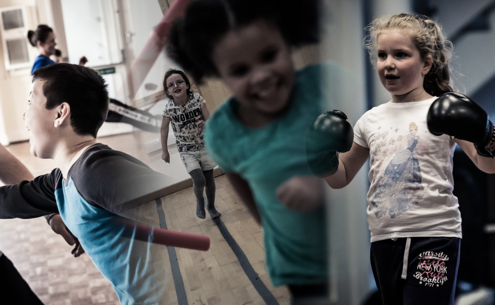 Active, happy children during a variety of classes run by Focus Krav Maga Dorset in recent years.