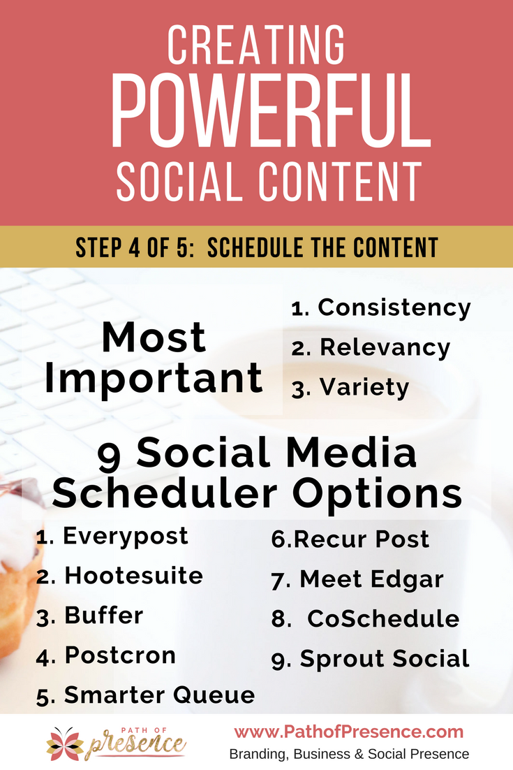 creating powerful social media content // social media posting ideas // scheduler options // automation options for social media postings // social media posting schedule // social media planning // social media marketing tips Consistency, Relevancy and Variety is important in posting content