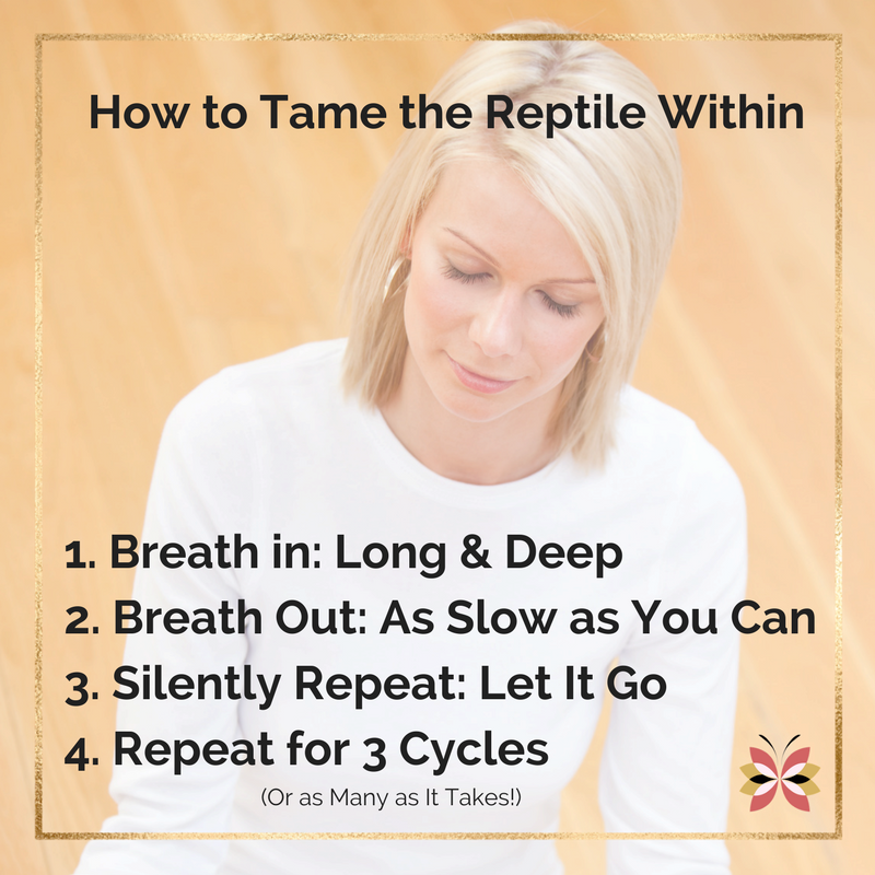 Four (4) Step Guide to Calming Down - taming the retile within. in 3 breathes. Let It Go :: Path of Presence :: PathofPresence com