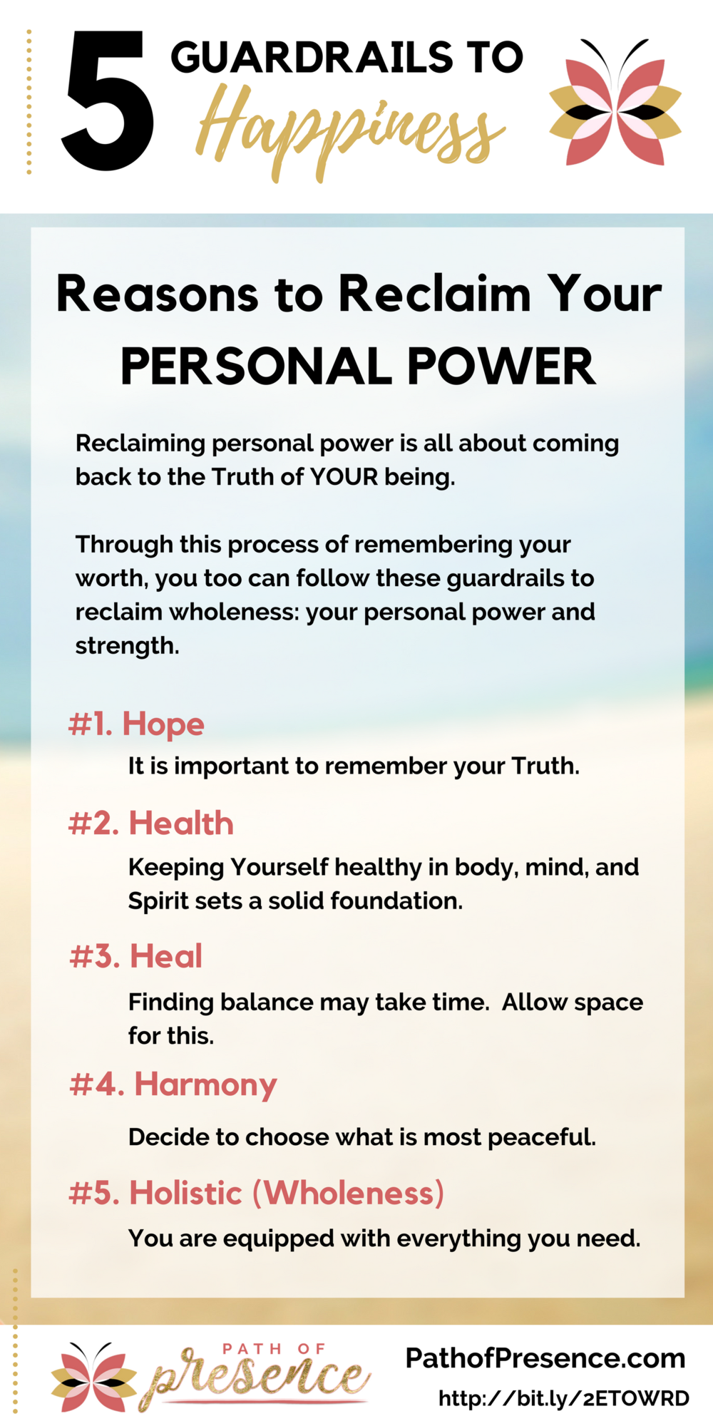 5 Guardrails to Happiness :: Reclaim Your Personal Power and Inner Strength :: Path of Presence :: Hope | Health | Heal | Harmony | Holistic (Wholeness - Holy) :: Evelyn Foreman