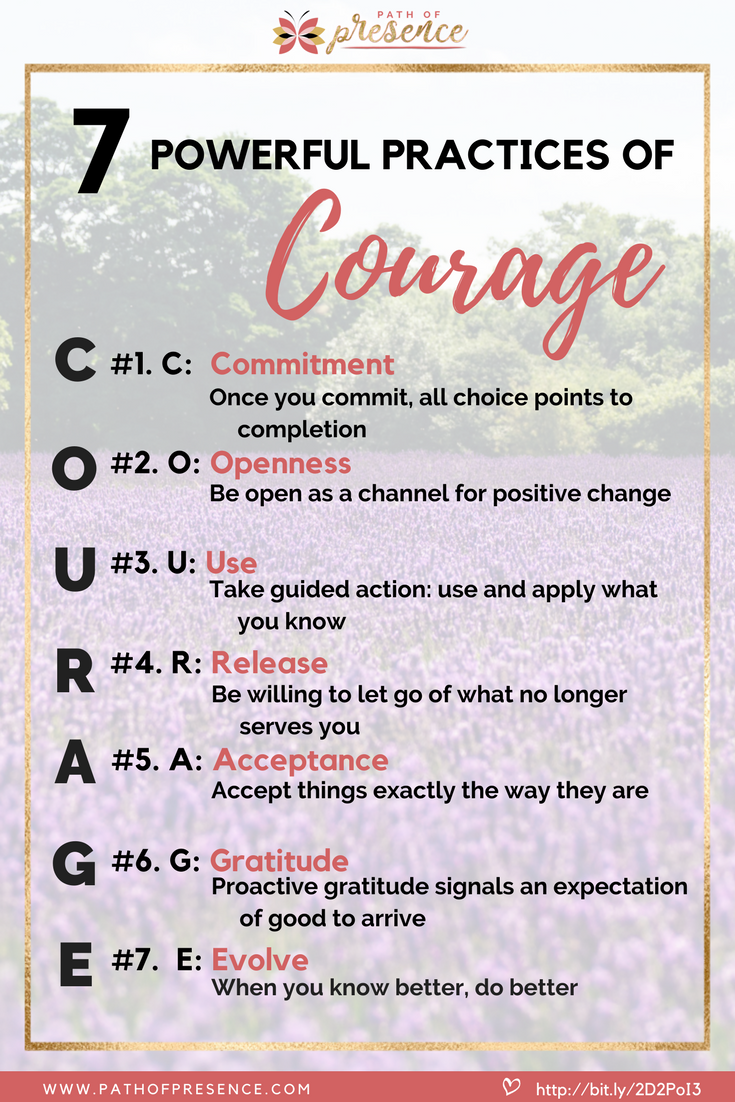 7 Powerful Practices of Courage [ C.O.U.R.A.G.E. ] you need to master on your journey home to yourself :: Path of Presence :: Self Improvement :: Positivity :: Inspiration :: Self-Mastery :: Evelyn Foreman