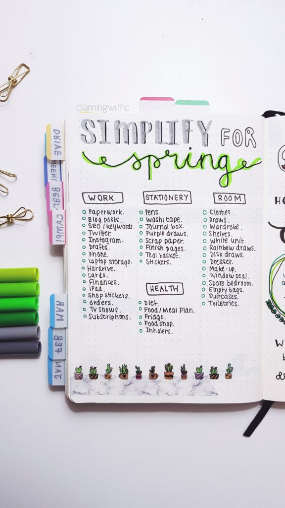 Simplify for Spring - Declutter - Bullet Journal - Channon Gray :: Path of Presence :: Mindful Living