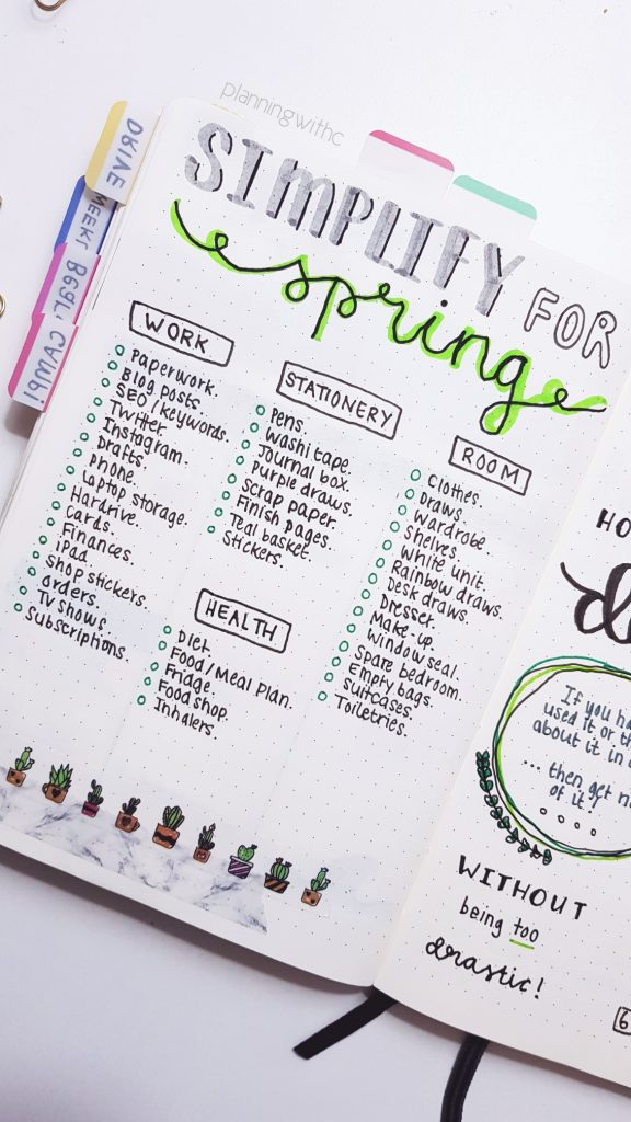 Declutter and Simplify for Spring - Bullet Journal - Channon Gray :: Path of Presence :: Mindful Living