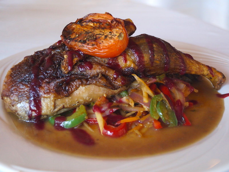 Roasted Duck - $22 – With raspberry & chili peppers served with roasted vegetable julienne