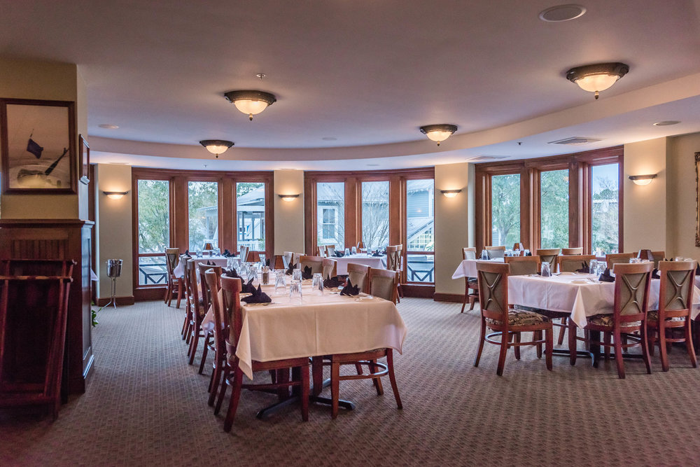 Upstairs Dining - Upstairs dining accommodates up to 60 guests. View the village from any of the surrounding windows or step out onto the balcony which looks down the main street of the village.