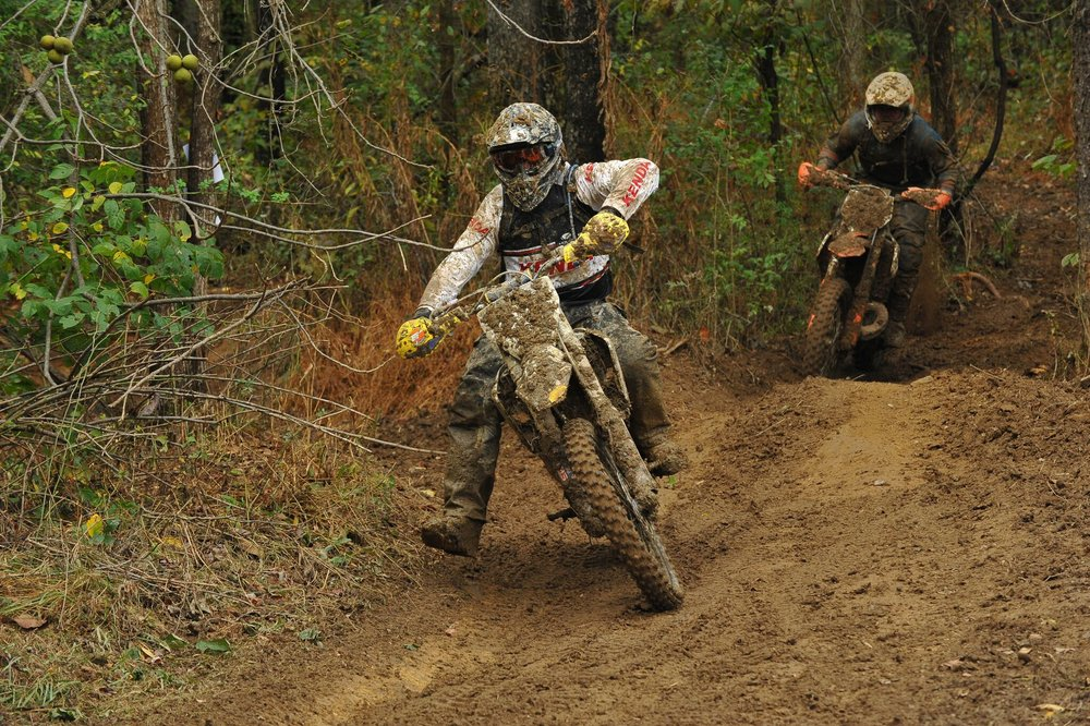 Kenda Tire Motorsports Director, Jason Baldwin proves he can battle and podium at the GNCC's.  Photo by Ken Hill
