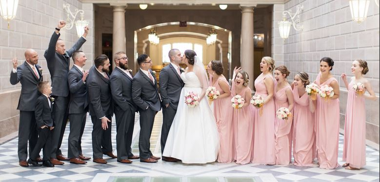 indiana pink grey wedding party