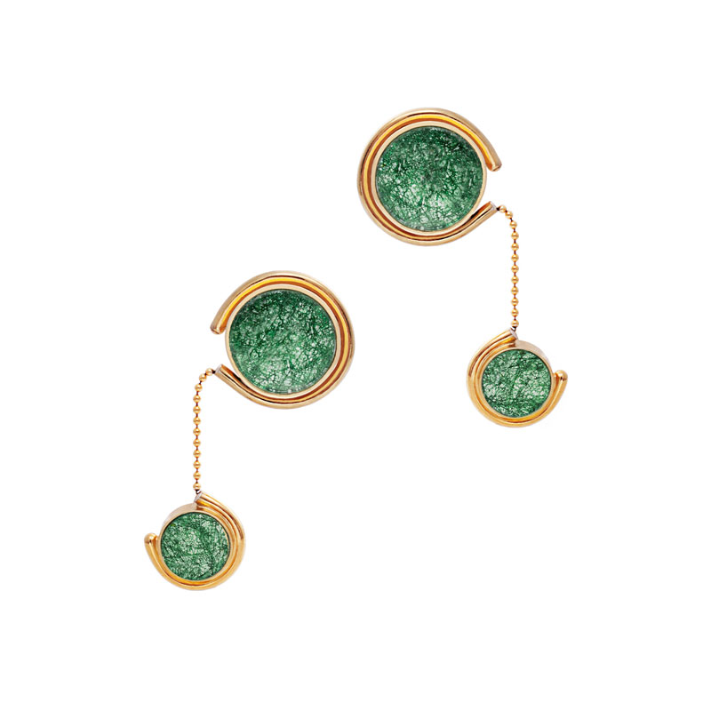 Tinted Earrings I Gold Emerald Lace