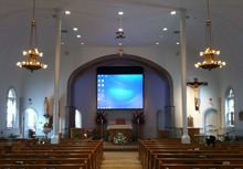 AV installation of church video projection system at a Massachusetts church