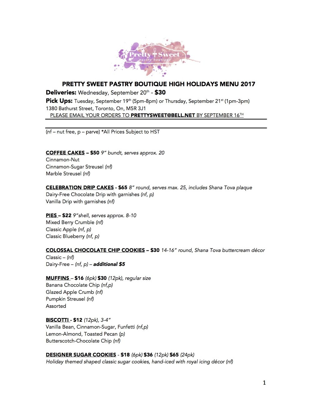 PRETTY SWEET PASTRY BOUTIQUE HIGH HOLIDAYS MENU 2017.jpg