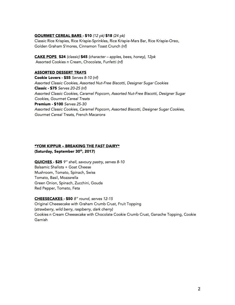 PRETTY SWEET PASTRY BOUTIQUE HIGH HOLIDAYS MENU 2017 p2.jpg