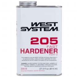 WEST SYSTEM EPOXY 205A FAST HARDENER - Mix with 105 for quick hardening. Used for filling holes, for example in table or bench tops.