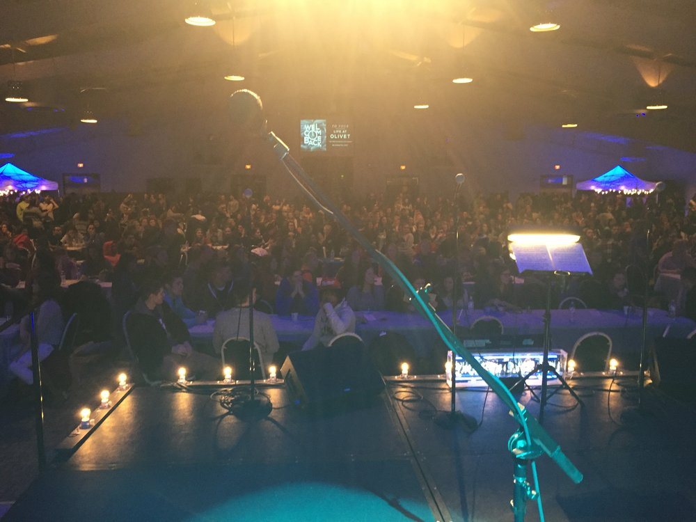 """With Live Band Karaoke at Olivet Nazarene University. Probably 1000 kids (really!) that immediately stood up and screamed when we played """"Shut and Dance"""", which just came out. A bit overwhelming to get that big of a response unexpectedly."""