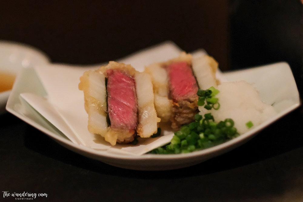 Wagyu-Hasami-Age -  amazing wagyu-lotus root sandwich, perfectly tempura-ed