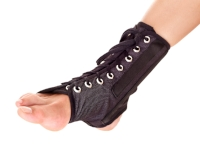 lace-up ankle braces  Recurring ankle sprains, sport injuries, and tendon pain can all be helped with a simple brace that is often covered by insurance when dispensed by a podiatrist. These are very supportive, comfortable and fits in most shoes.