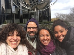 Me, Eduardo, Ashley, and Jenny: scouting out the flashmob location.