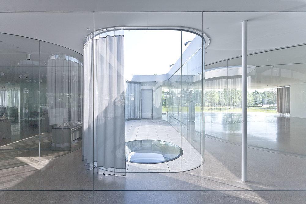 Toledo Museum of Art's Glass Pavilion' in Toledo, Ohio 2006, by Kazuyo Sejima and Ryue Nishizawa, SANAA