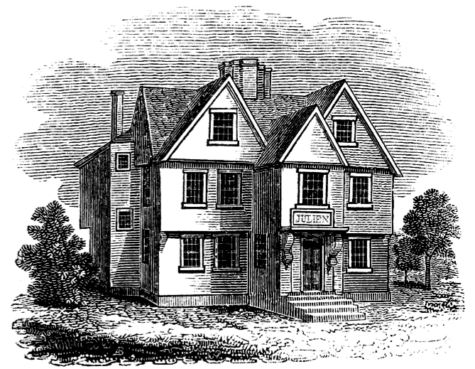 Julien's Restorator from Caleb Snow's History of Boston, 1828. Image Source:  Wikicommons