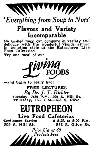 Advertisement for Eutropheon, 1928. Image Source:  Restaurant-ing Through History