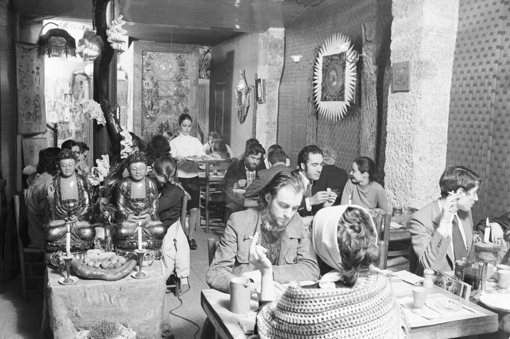 Macrobiotic restaurant in Paris, 1972. (Jean Tesseyre/Paris Match via Getty Images) Image Source:  Timeline