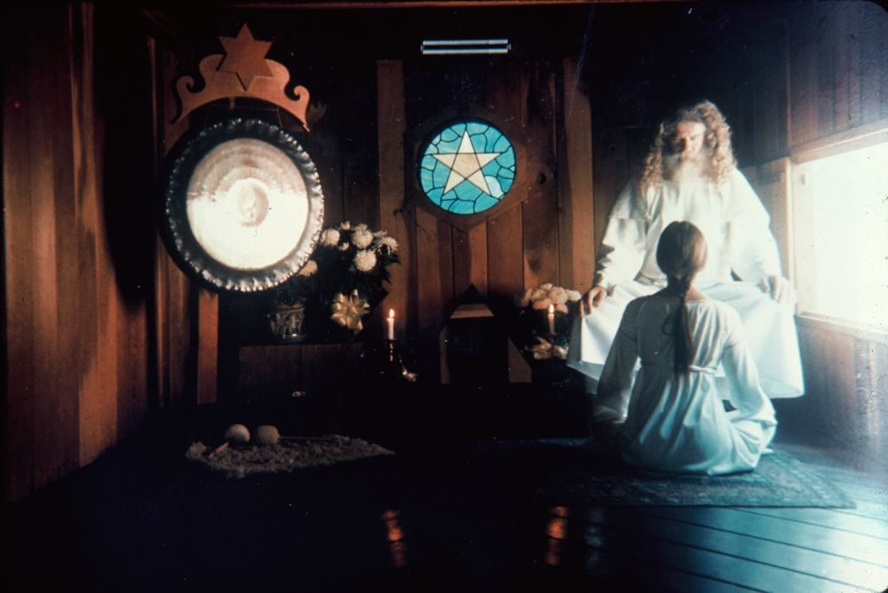 Father Yod in the temple behind the Source Restaurant, 1973. Image Source:  Interview Magazine