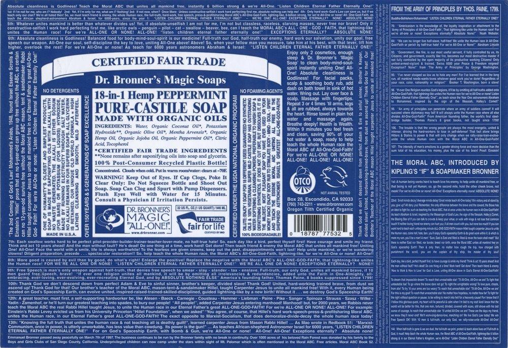 Dr. Bronnerls Loquid Soap Label