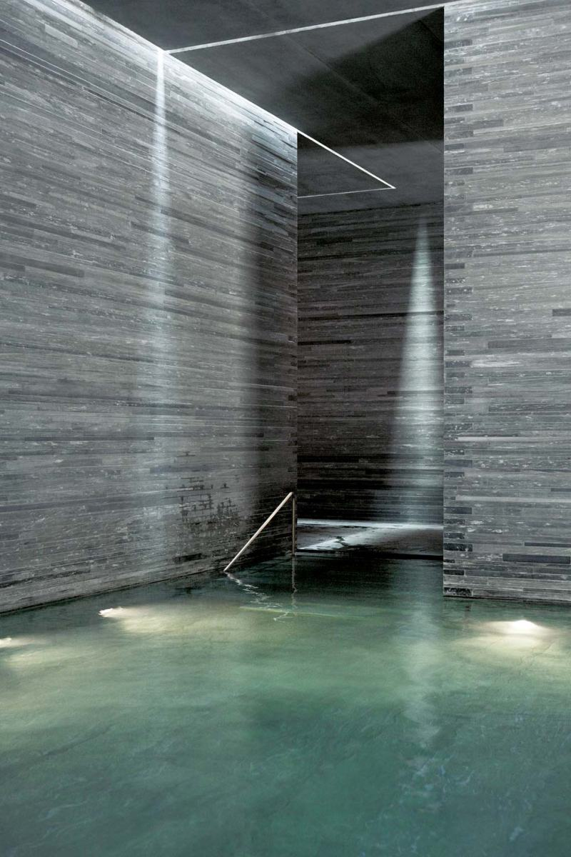 Peter Zumpthor Therme Vals, Photo by  Helene Binet