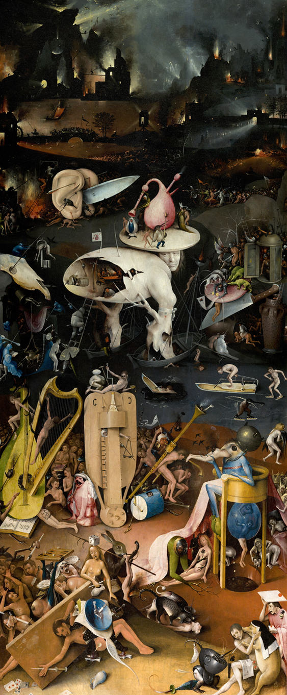 The right panel of the Garden of Earthly Delights by Hieronymus Bosch, circa 1490-1510. Image Source:  Wikimedia Commons