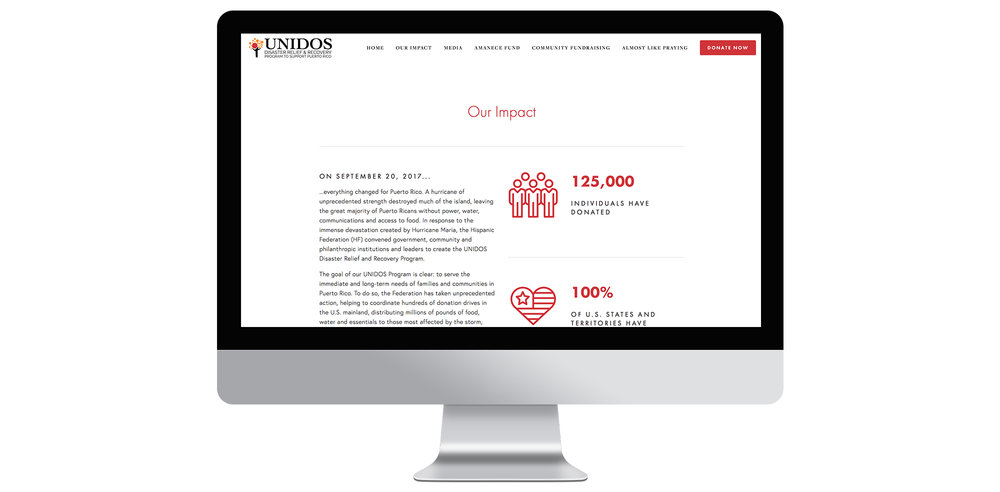Website screen capture.  Visit the site online or donate at  www.hispanicfederationunidos.org .