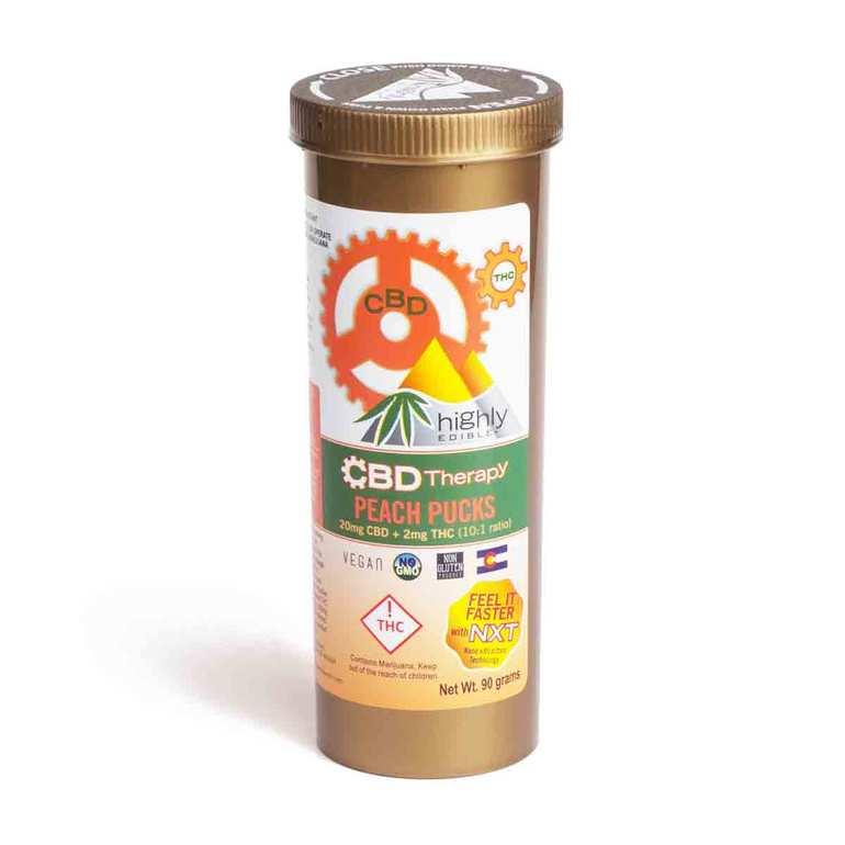 CBD Peach Therapy Pucks (20mgs CBD, 2mgs THC)