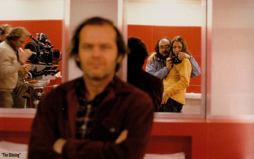Probably my all-time favorite BTS photo of Jack Nicholson and Stanley Kubrick on the set of  The Shining