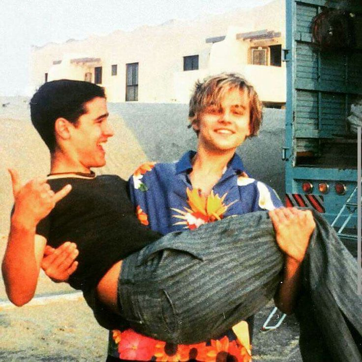 Leo on the set of  Romeo+Juliet