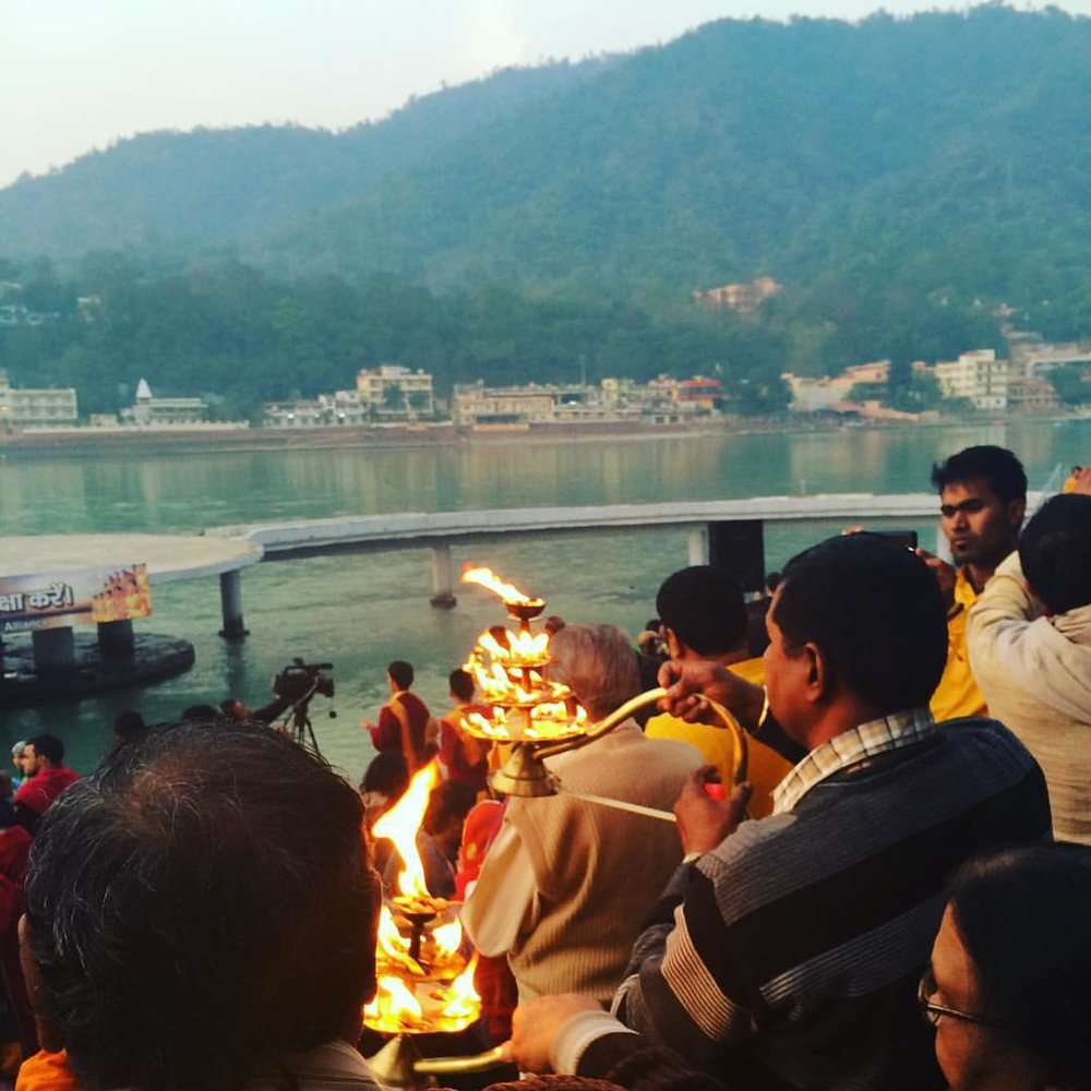 Last night,  we went to the Aarti, the fire ceremony on the Ganga.      http://goindia.about.com/od/spiritualplaces/ss/Ganga-Aarti-In-India.htm  (at Madhuban, The Krishna Temple, Rishikesh)