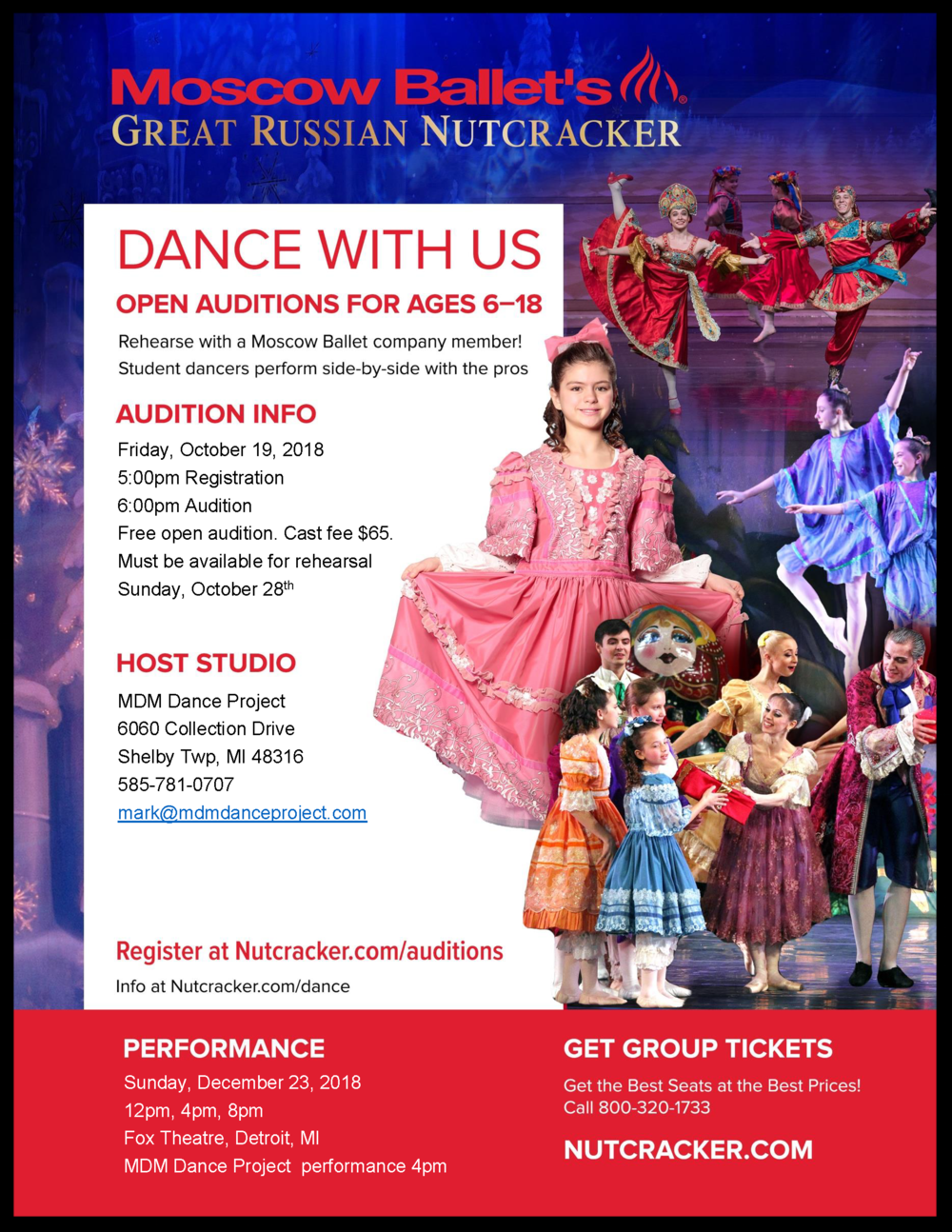 It's Nutcracker audition time again! Click the flyer for audition information, a video from the Moscow Ballet and details on what dancers can expect!