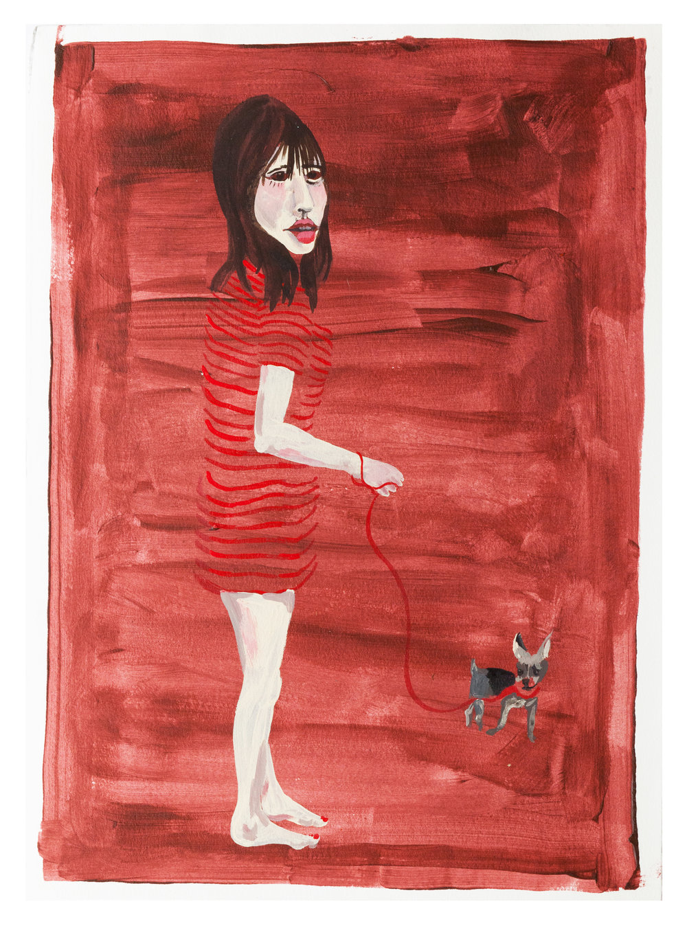 || red girl and dog. || dimension || acrylic on paper || 2016. ||