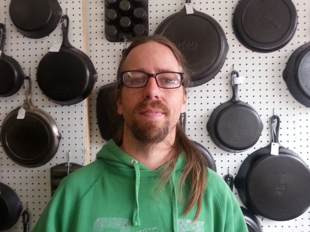 Phil - Phil keeps the shop full of cast iron. All of his skillets are cleaned and they are ready to use. Phil also carries a lot of sports items, toys, and