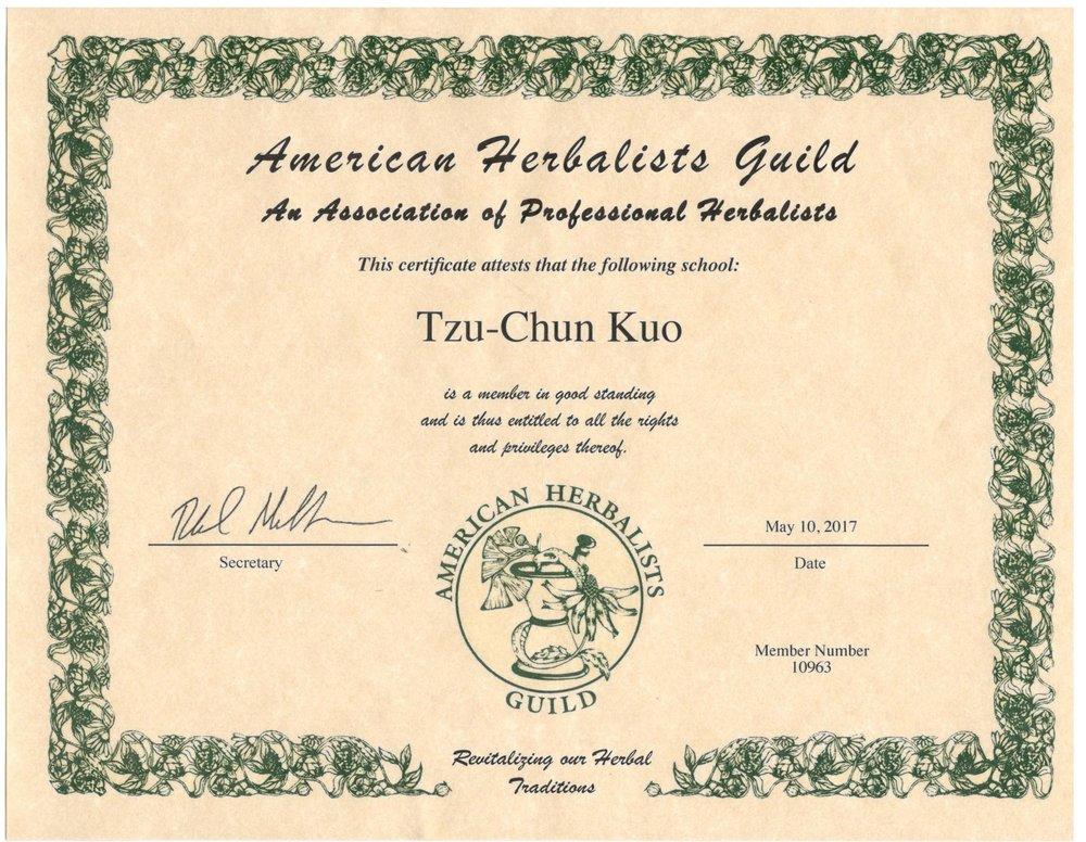 Accredited Herb School by American Herbalists Gulid -