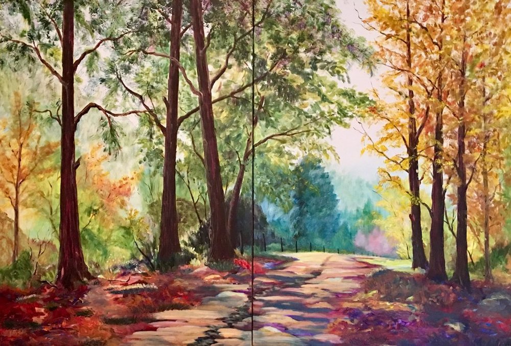 """The Road Less Traveled Diptych    48"""" x 72"""" $5,000"""