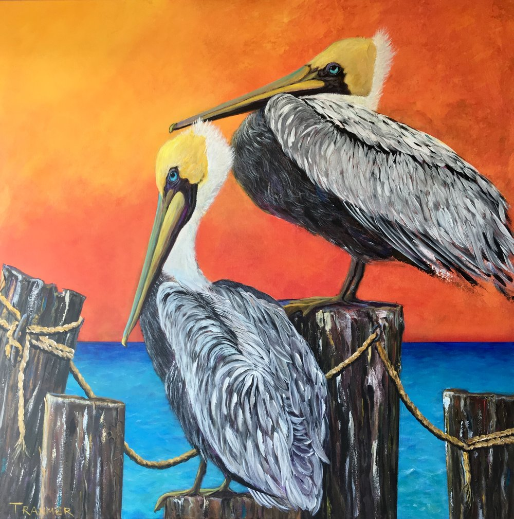 """Pair O' Pelicans  36""""x36"""" Commission SOLD"""