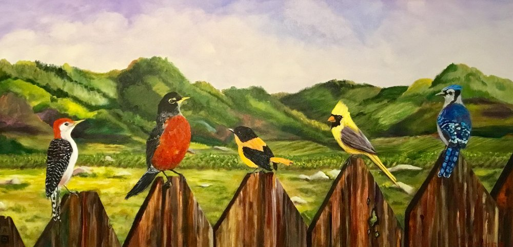 """All About the Robin  24""""x48"""" $2,500 SOLD"""