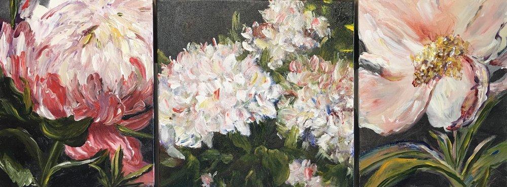 "Floral Triptych  12""x36""  $750"