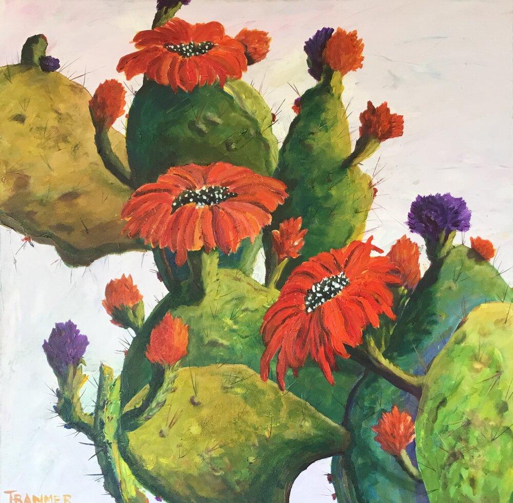 """Flowering Cactus  24"""" x 24"""" $900"""
