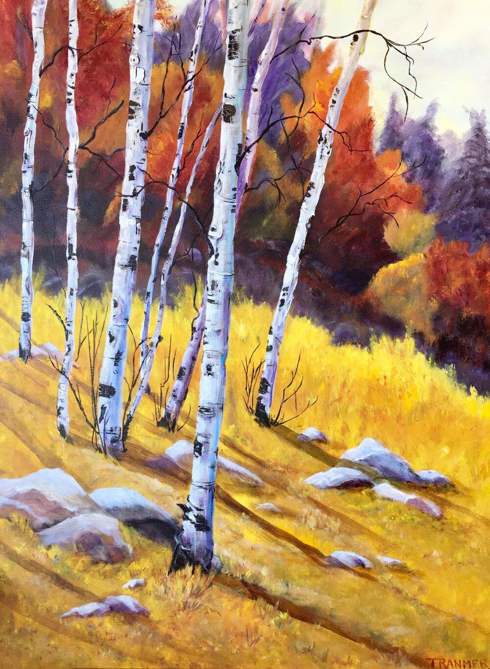 "Aspens in Autumn 40""x30""x1.5"" $2,200"