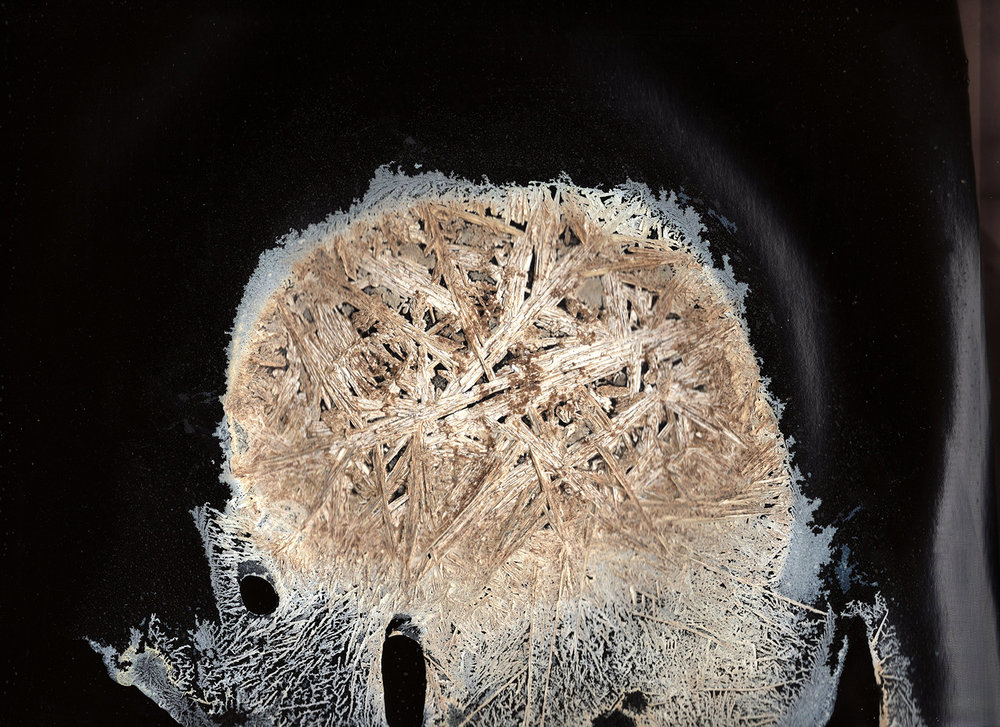 Bad bad darkroom procedures, flatbed scan   Unique gelatin silver photograph, crystallized Kodak developer,  11 x 14 inches  2019