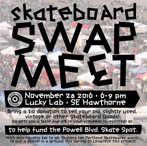 Swap Meet flyer for the Powell Street Skate Spot fundraiser