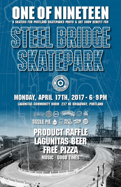 SPS Photo & Art Show flyer for Steel Bridge Skatepark fundraiser